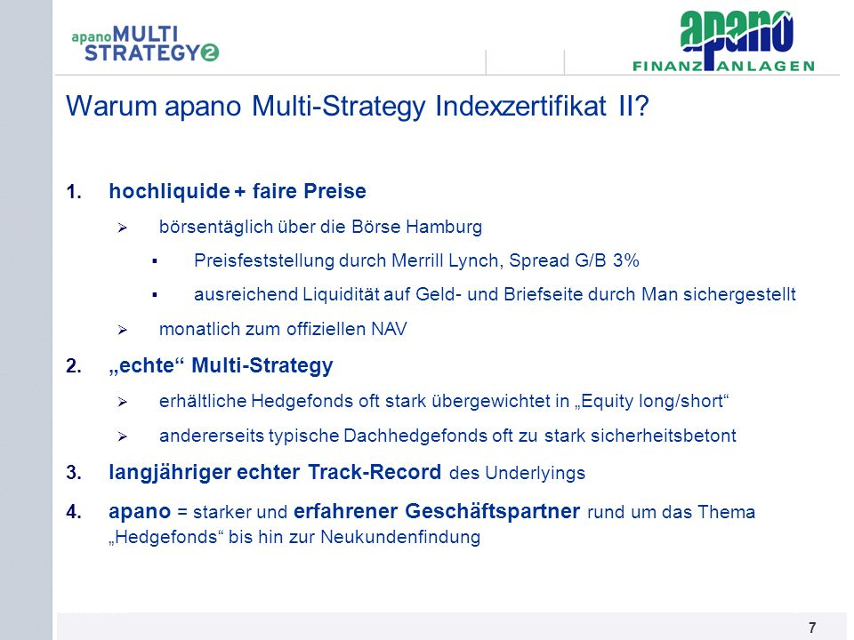 Warum apano Multi-Strategy Indexzertifikat II