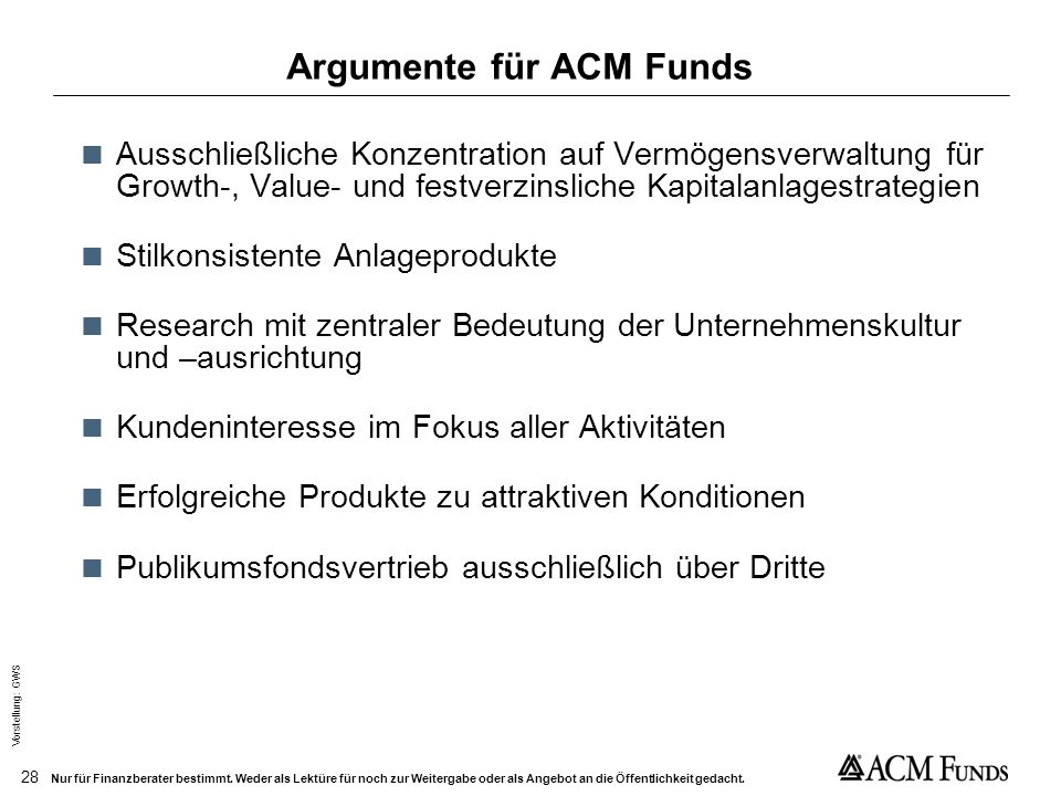 Argumente für ACM Funds
