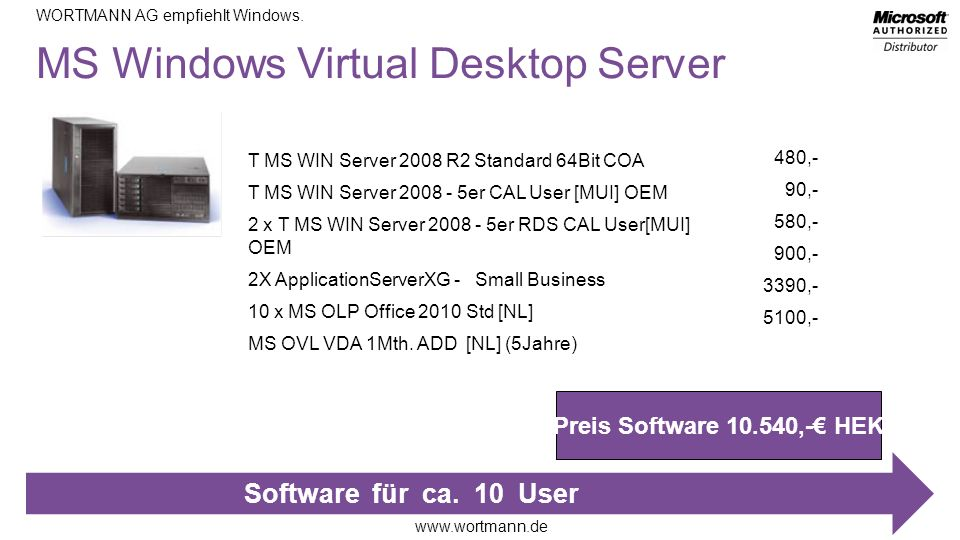 MS Windows Virtual Desktop Server