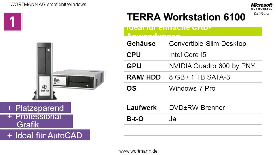TERRA Workstation 6100 Platzsparend Professional Grafik