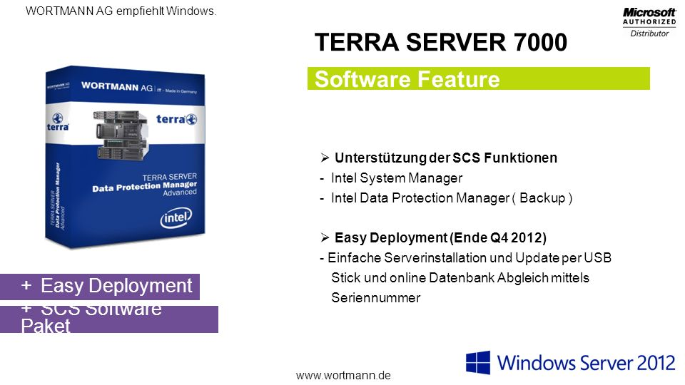 TERRA SERVER 7000 Software Feature Easy Deployment SCS Software Paket
