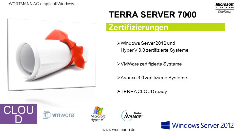 CLOUD TERRA SERVER 7000 Zertifizierungen Windows Server 2012 und