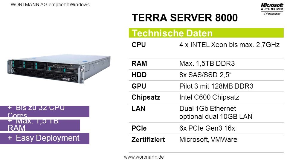 TERRA SERVER 8000 Technische Daten Max. 1,5 TB RAM Easy Deployment