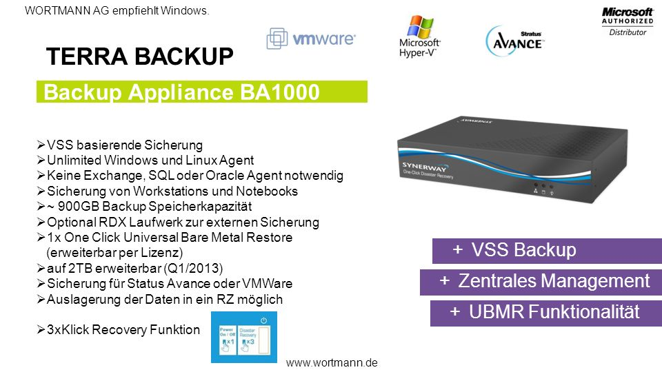 TERRA BACKUP Backup Appliance BA1000 VSS Backup Zentrales Management