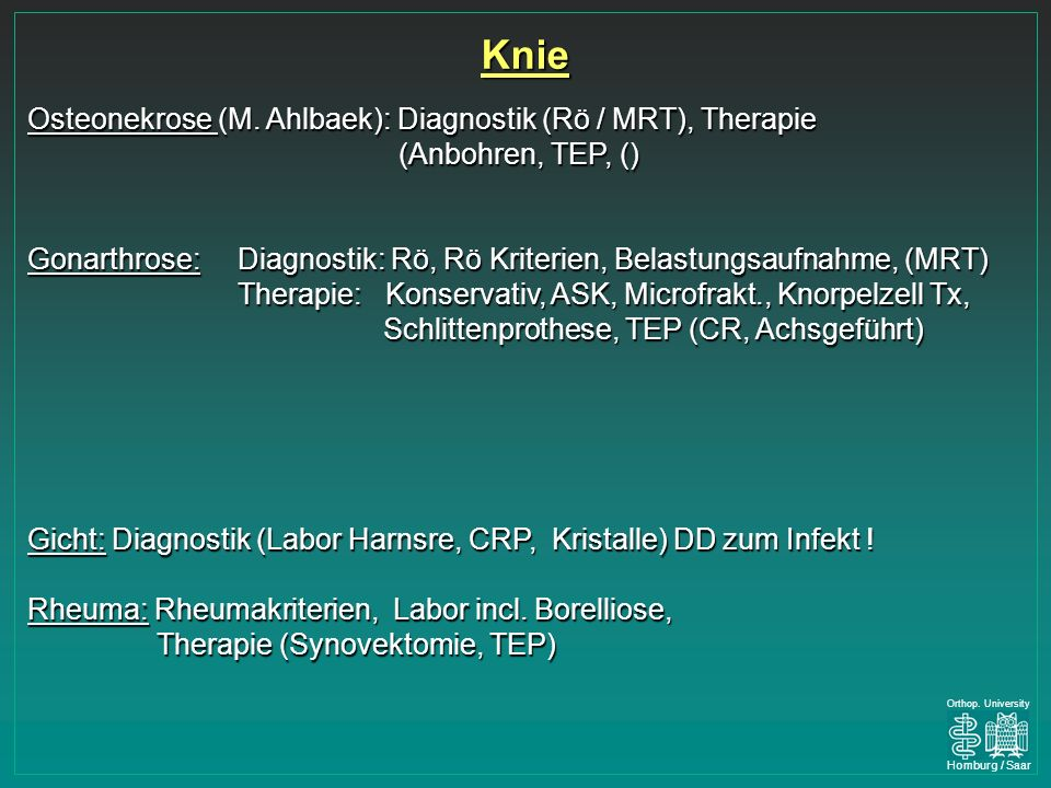 Knie Osteonekrose (M. Ahlbaek): Diagnostik (Rö / MRT), Therapie