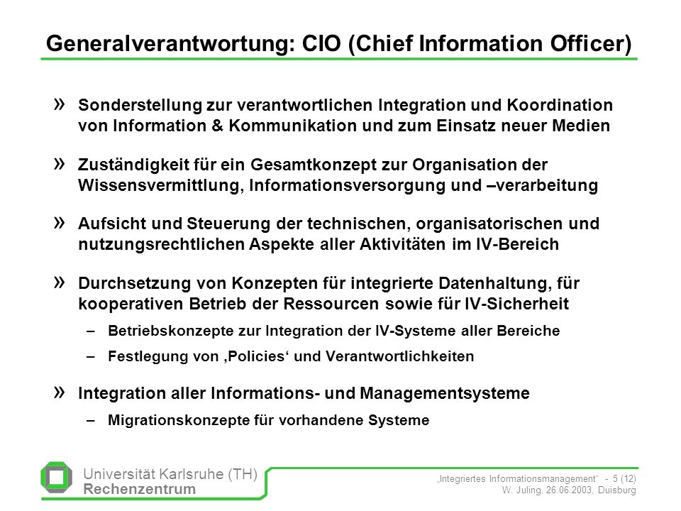Generalverantwortung: CIO (Chief Information Officer)