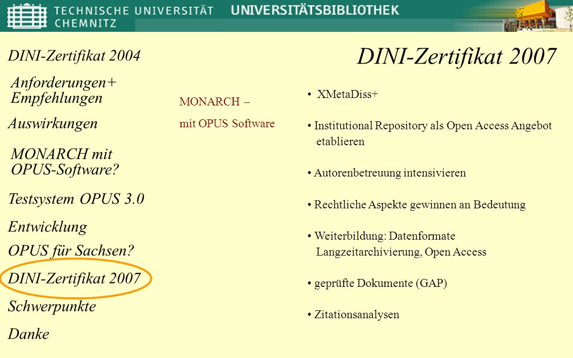 DINI-Zertifikat 2007 XMetaDiss+ MONARCH – mit OPUS Software