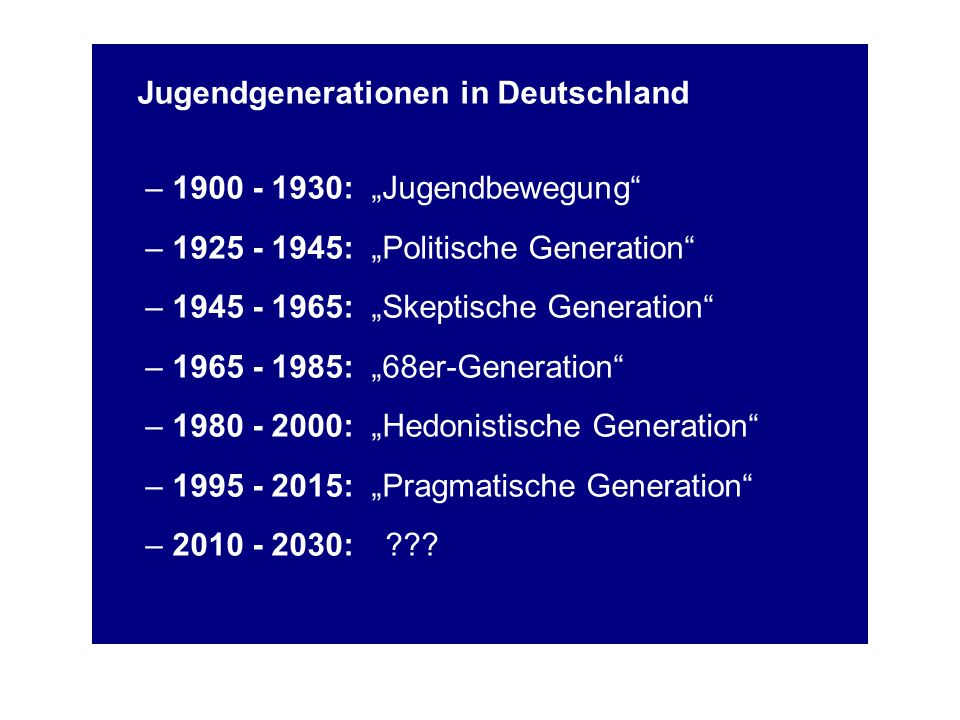 Jugendgenerationen in Deutschland