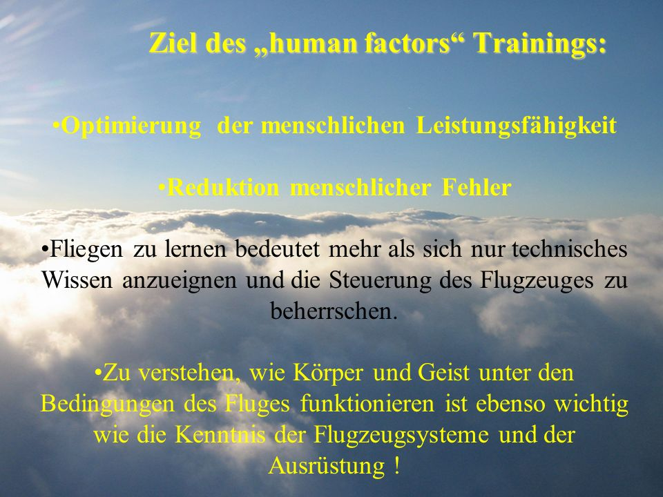 "Ziel des ""human factors Trainings:"