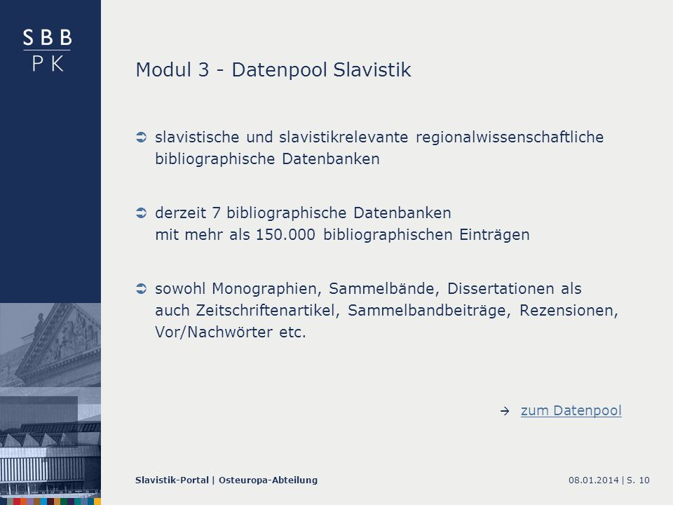 Modul 3 - Datenpool Slavistik
