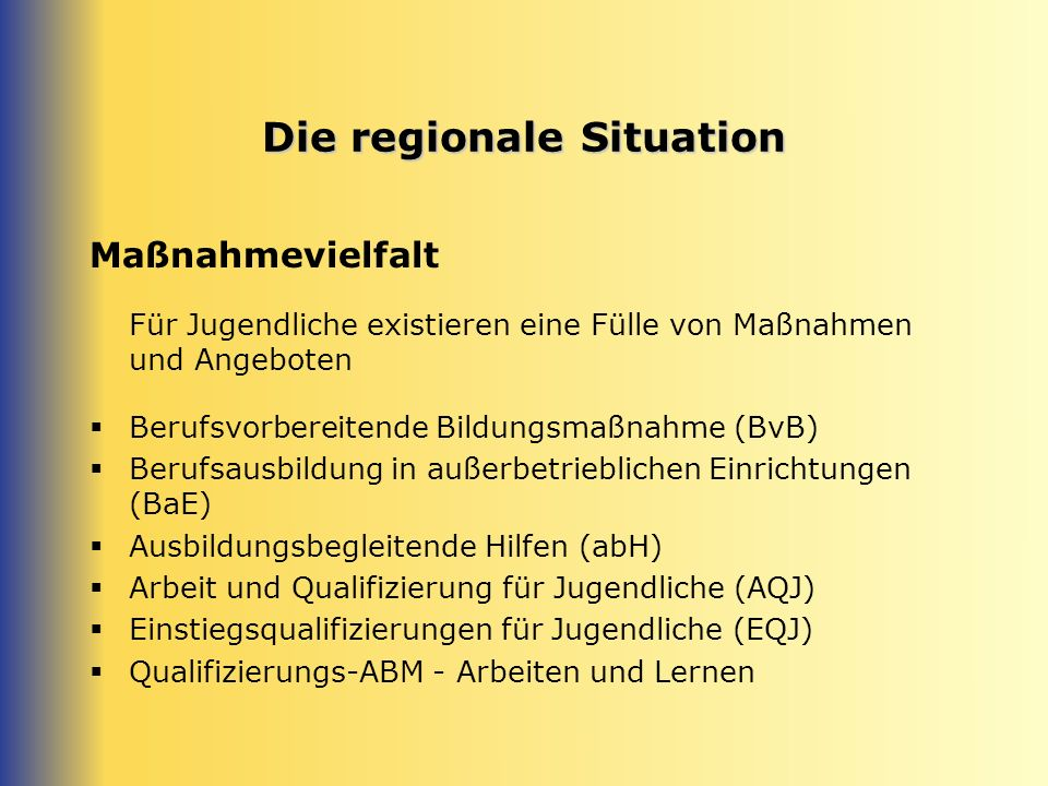 Die regionale Situation