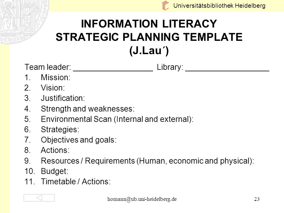 INFORMATION LITERACY STRATEGIC PLANNING TEMPLATE (J.Lau´)