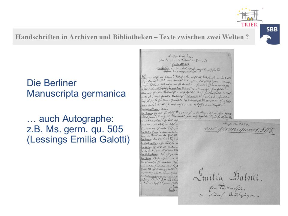 Die Berliner Manuscripta germanica