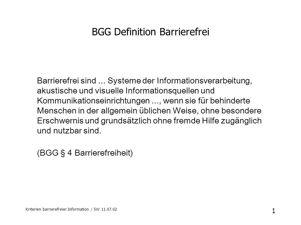 BGG Definition Barrierefrei