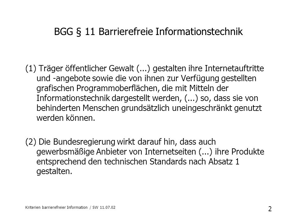 BGG § 11 Barrierefreie Informationstechnik