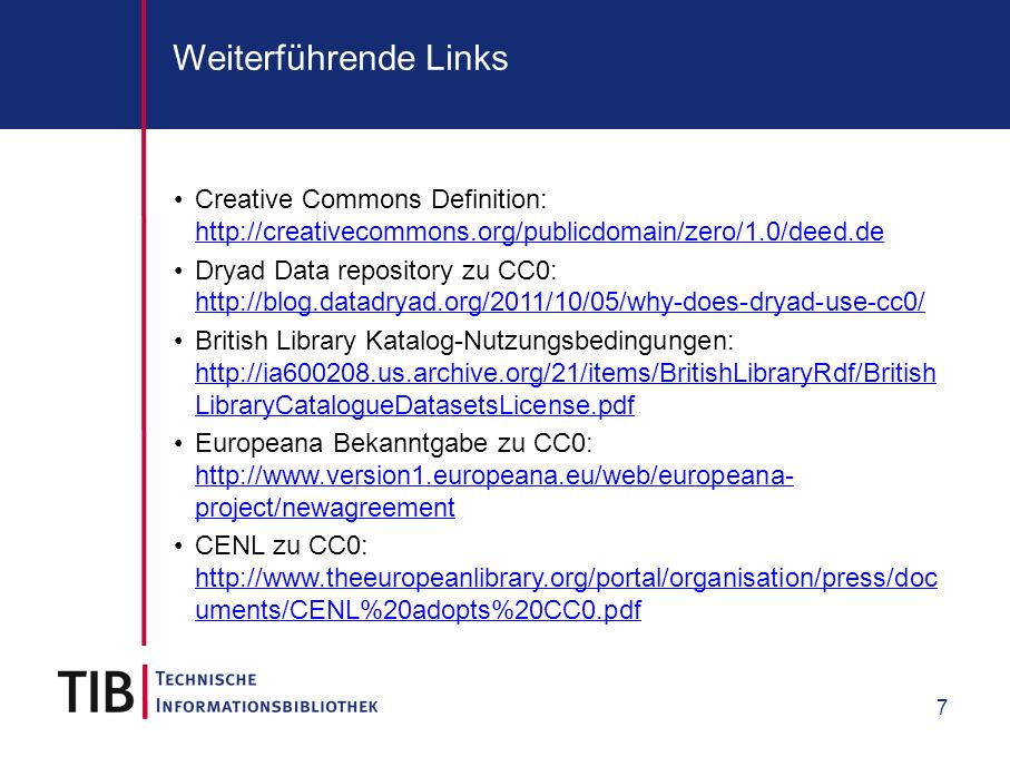Weiterführende Links Creative Commons Definition: