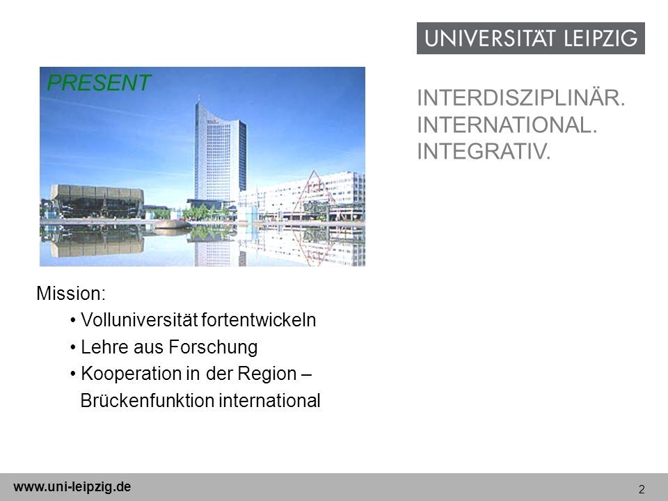 PRESENT INTERDISZIPLINÄR. INTERNATIONAL. INTEGRATIV. Mission: