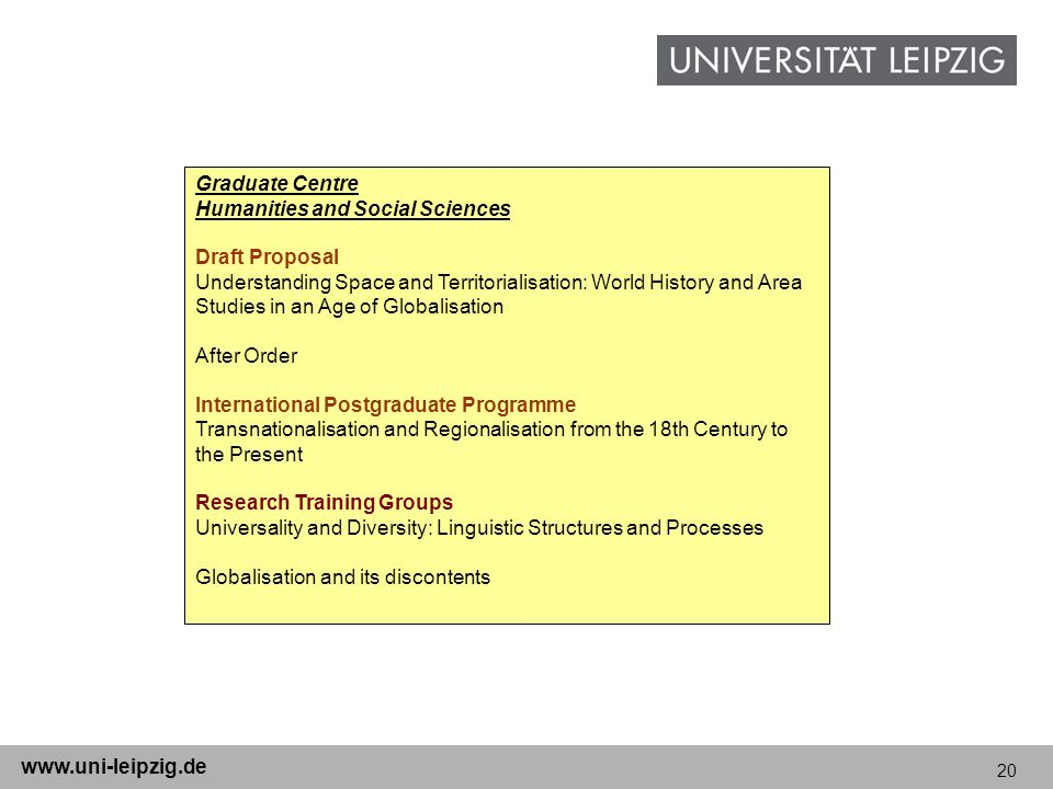 Graduate Centre Humanities and Social Sciences. Draft Proposal.