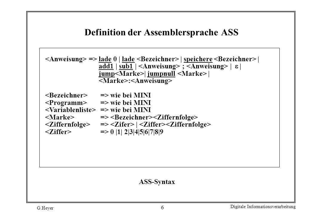 Definition der Assemblersprache ASS