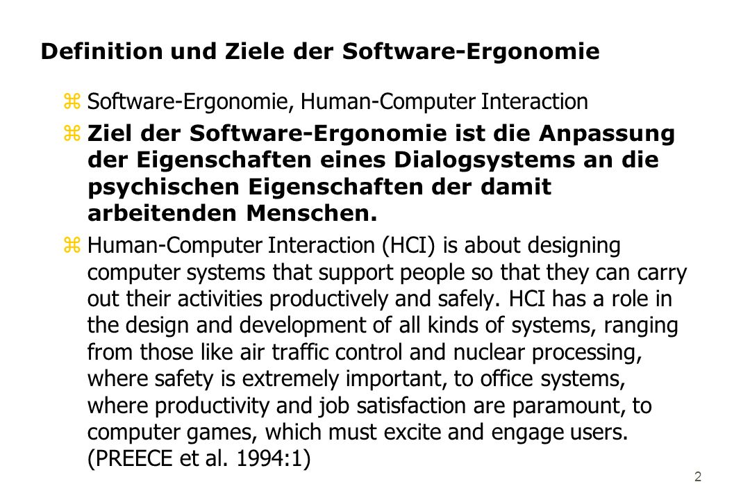 Definition und Ziele der Software-Ergonomie