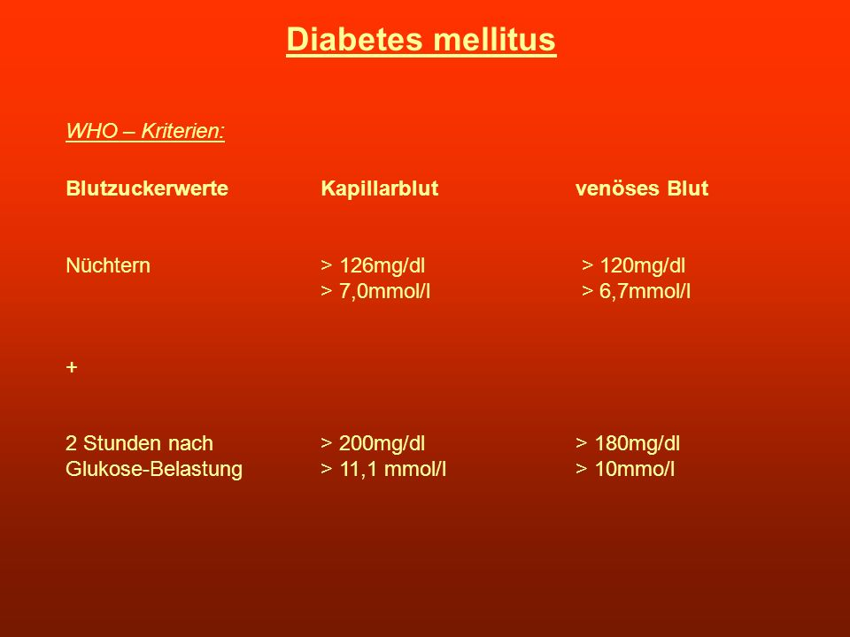 Diabetes mellitus WHO – Kriterien: