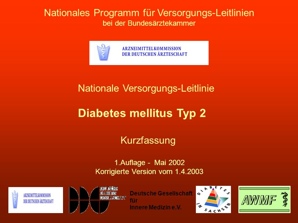 Diabetes mellitus Typ 2 Nationales Programm für Versorgungs-Leitlinien