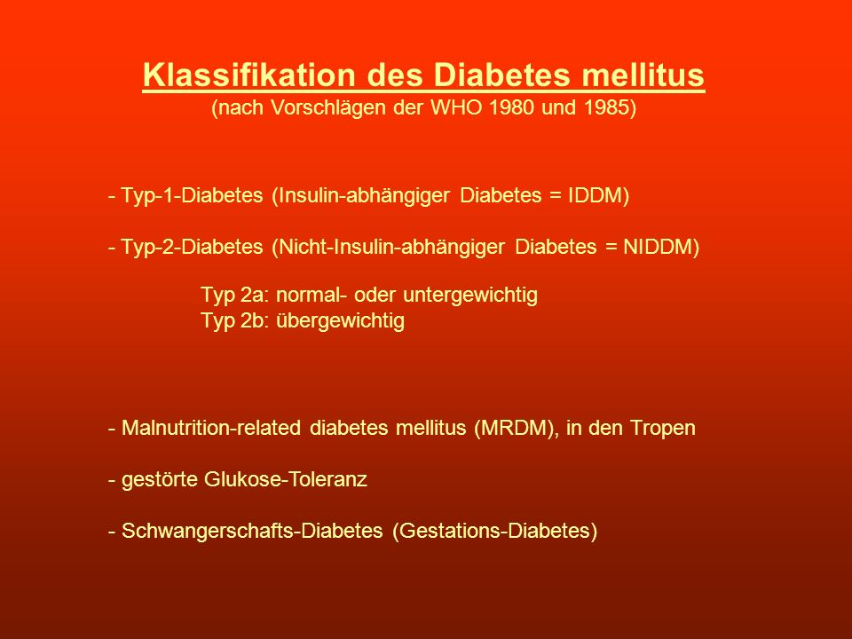Klassifikation des Diabetes mellitus
