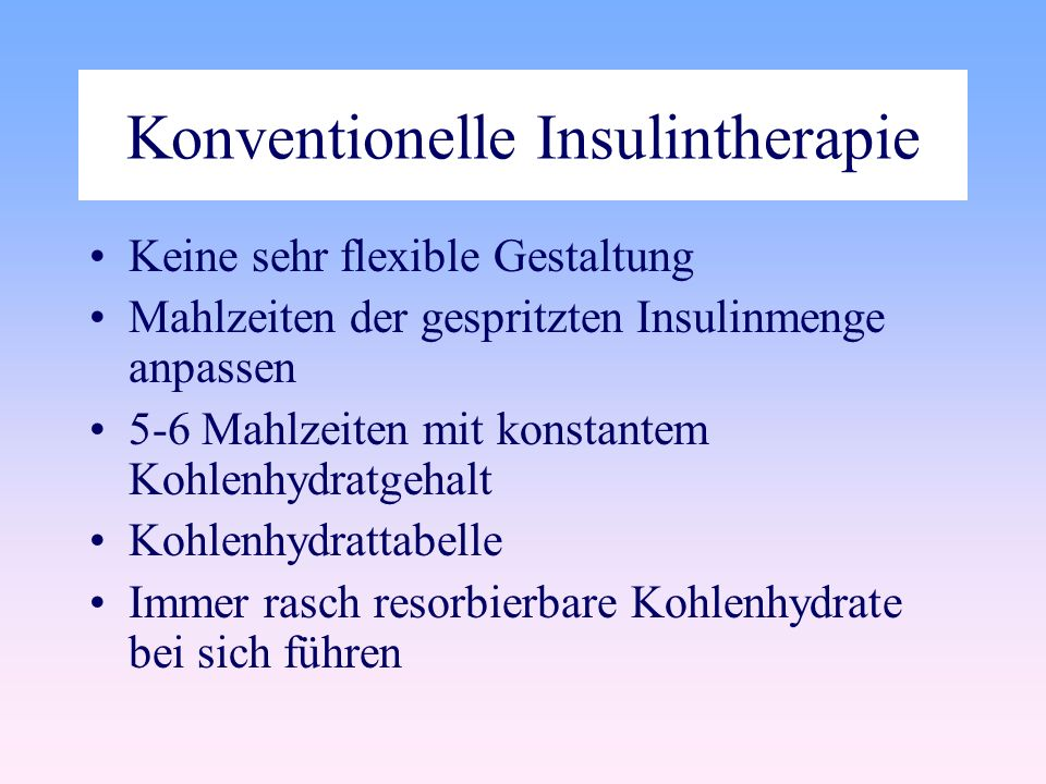 Konventionelle Insulintherapie