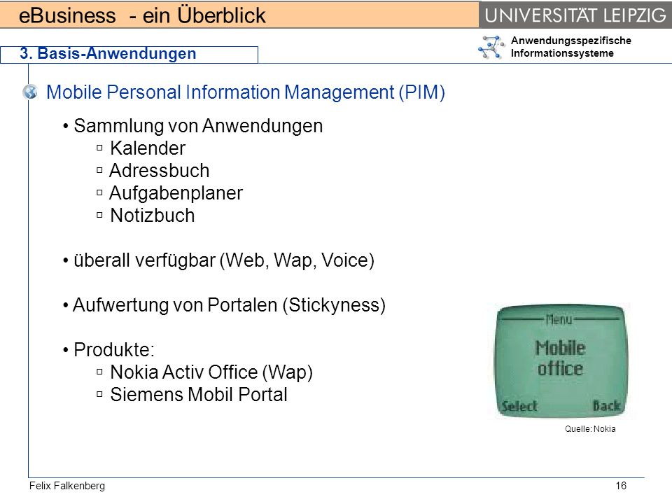 Mobile Personal Information Management (PIM)