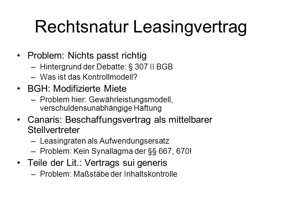 Rechtsnatur Leasingvertrag