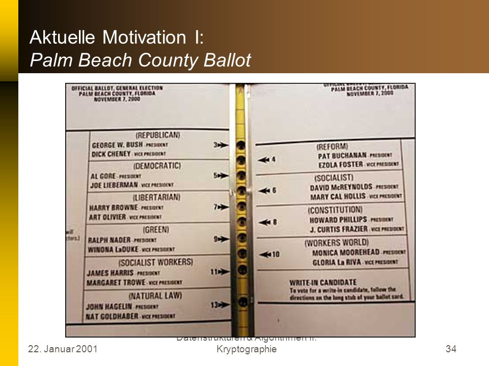Aktuelle Motivation I: Palm Beach County Ballot