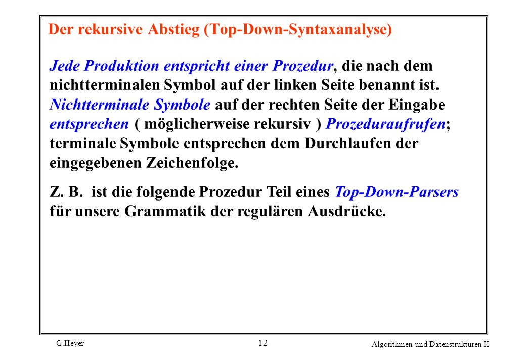 Der rekursive Abstieg (Top-Down-Syntaxanalyse)