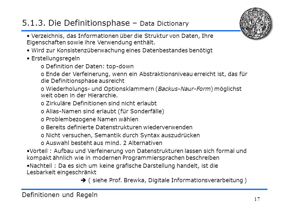 Die Definitionsphase – Data Dictionary