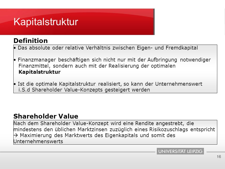 Kapitalstruktur Definition Shareholder Value