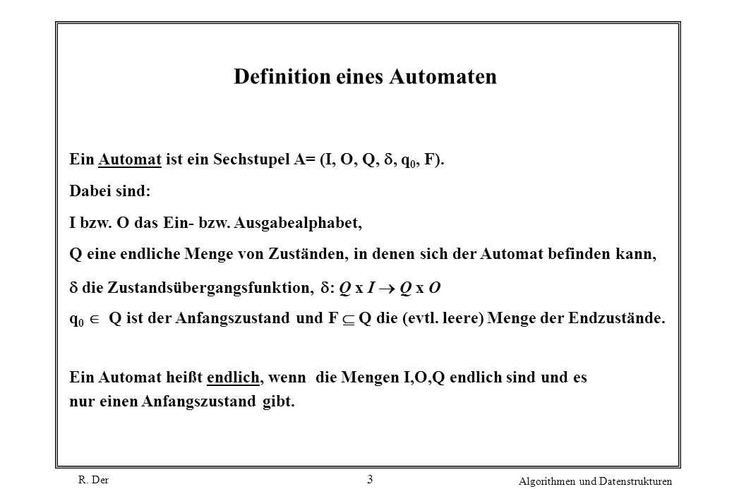 Definition eines Automaten
