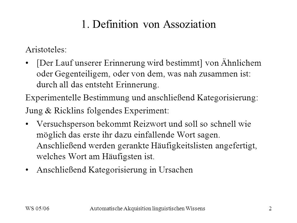 1. Definition von Assoziation