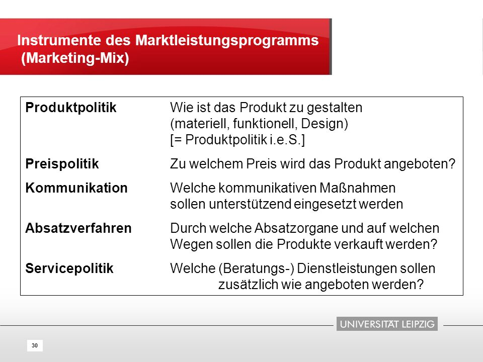 Instrumente des Marktleistungsprogramms (Marketing-Mix)