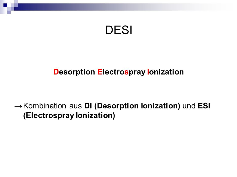 Desorption Electrospray Ionization