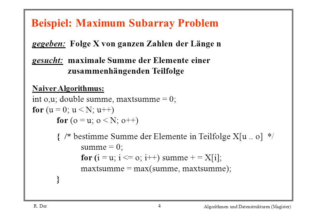 Beispiel: Maximum Subarray Problem