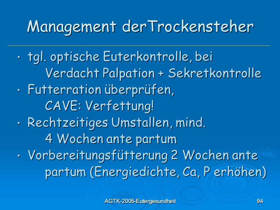 Management derTrockensteher