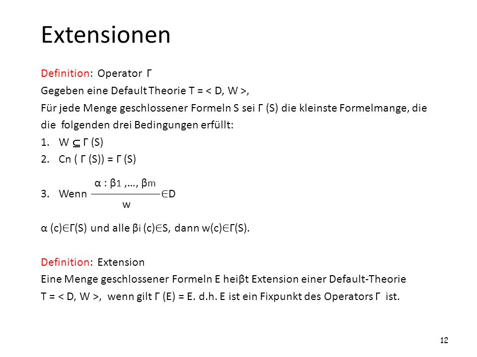 Extensionen Definition: Operator Г