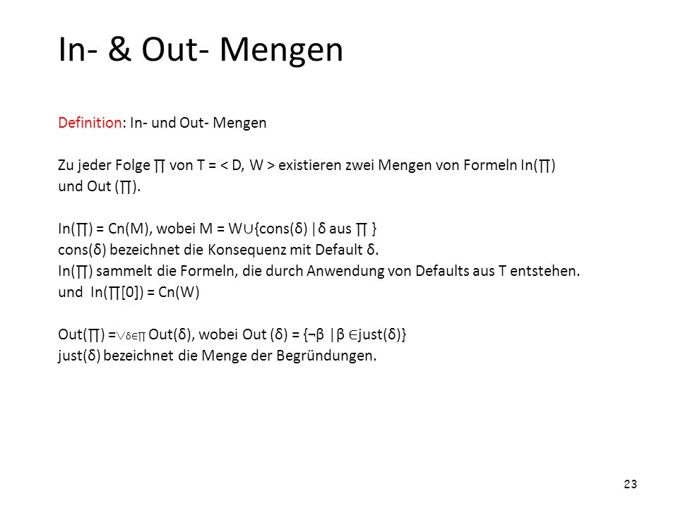 In- & Out- Mengen