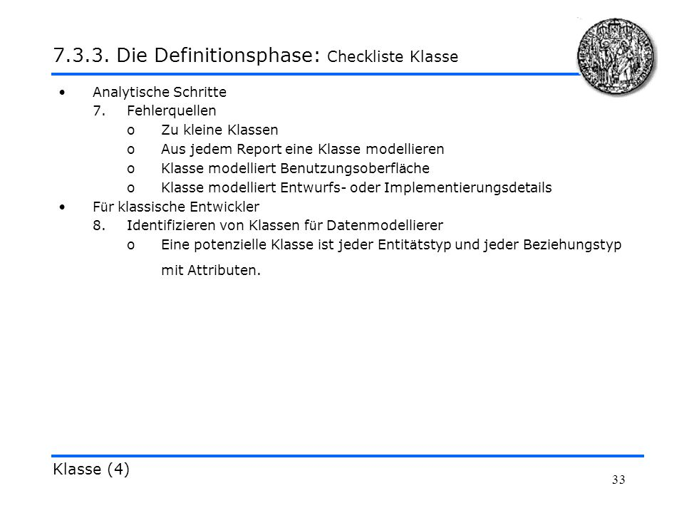 7.3.3. Die Definitionsphase: Checkliste Klasse