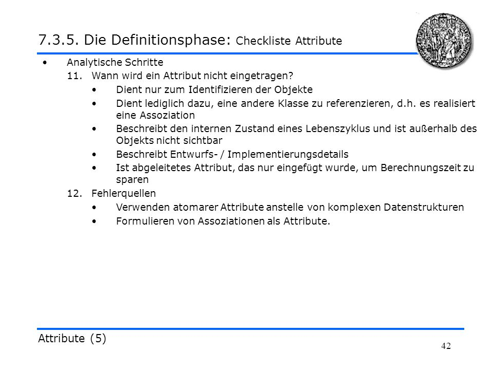 7.3.5. Die Definitionsphase: Checkliste Attribute