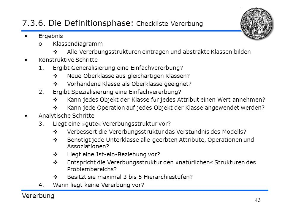 7.3.6. Die Definitionsphase: Checkliste Vererbung