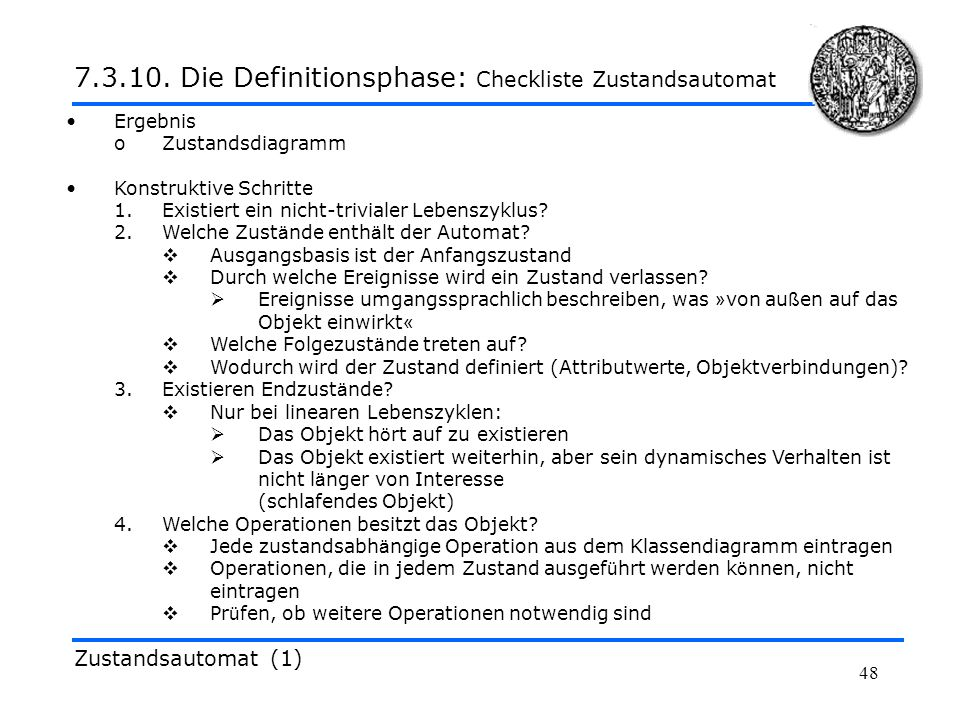 7.3.10. Die Definitionsphase: Checkliste Zustandsautomat