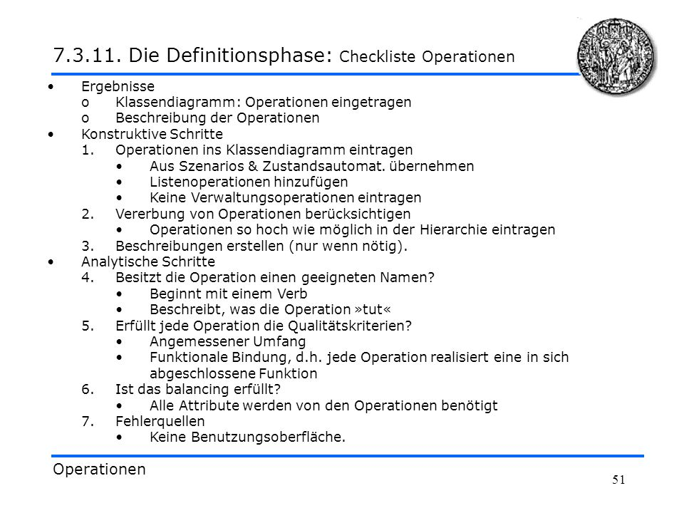 7.3.11. Die Definitionsphase: Checkliste Operationen