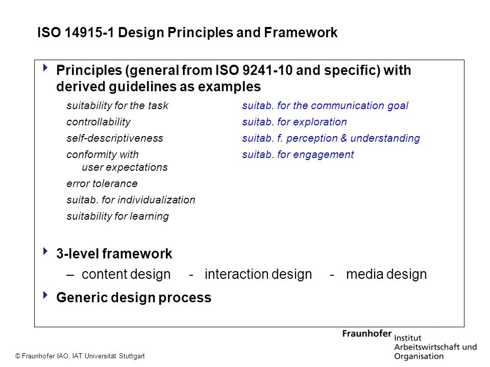 ISO Design Principles and Framework