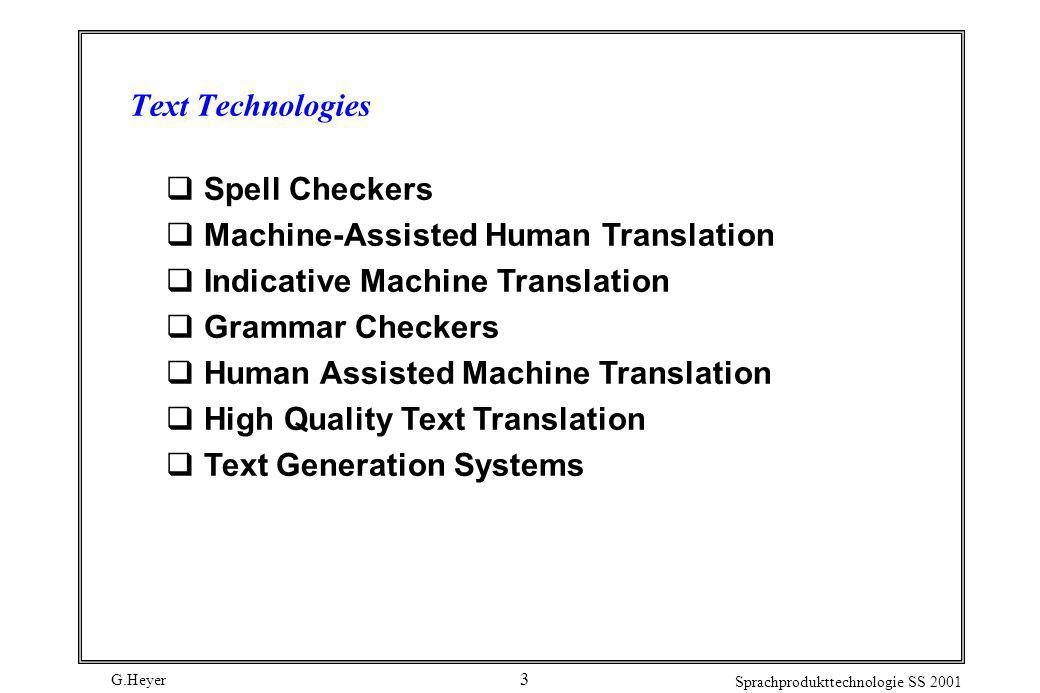 Text Technologies Spell Checkers. Machine-Assisted Human Translation. Indicative Machine Translation.