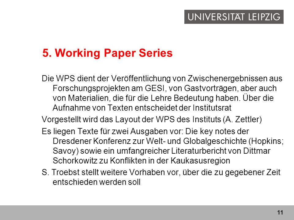 5. Working Paper Series